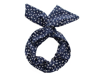 Twist Hair Scarf - Screen-printed Wire Headband - White Checkmarks on Navy