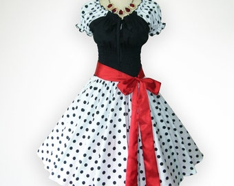 Black and White Baby Doll Top 50s Pin up Rockabilly Swing Dress Full Swing Skirt Regular and Plus Size