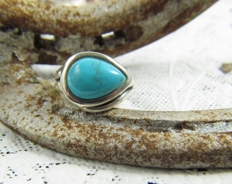 Turquoise Pear Shaped and Sterling Ring