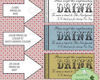 Digital Drink Tickets Digital Drink Coupons Digital Drink Tickets Instant Download Wedding needs Free drinks Complimentary drinks D.I.Y. 528