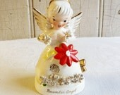 Vintage December Birthday Angel - Red Poinsettia - Probably Napco - Made in Japan - Mid-Century 1960s