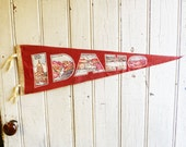 Vintage Idaho Souvenir Pennant - Hell's Canyon, Shoshone Falls, Craters of the Moon Park - Large Size - Mid-Century 1960s