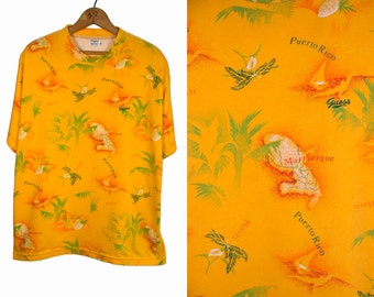 Vintage 1980's Iconic GUESS Brand Tropical Islands Tee Shirt T Shirt Unisex Size Small
