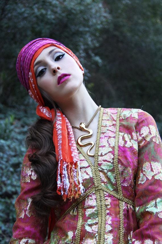 Dress Vintage 60s SHEER Gold Paisley BROCADE Goddess Ceremony  Dress // TatiTati Style on Etsy