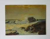 "Vintage 1965 Seascape - Original Oil Painting on Canvas Panel - Ocean Waves on Rocks - Unframed 9"" x 12"" Signed Art"