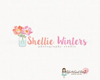 peony logo watercolor flower logo florist logo floral logo graphic design bespoke logo design photography logo watercolour logo watermark