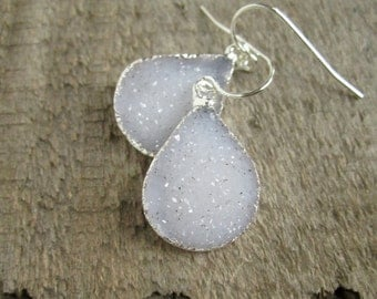 Druzy Earrings Drusy Quartz Sterling Silver Drops