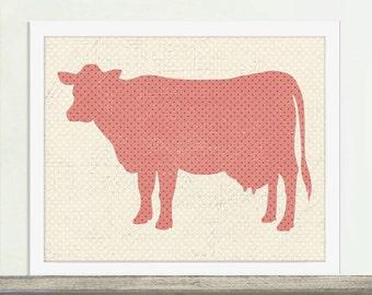 Kitchen Art, Cow Art, Animal Art, Cow, Coral Polka Dots,
