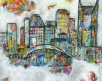 Nashville, painting, Fine Art, Art Print, Art, Skyline, Nashville, Music City Dreams