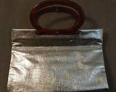 40% OFF Vintage 1960s Silver Metallic Tote Lady's Pride Lucite Handle