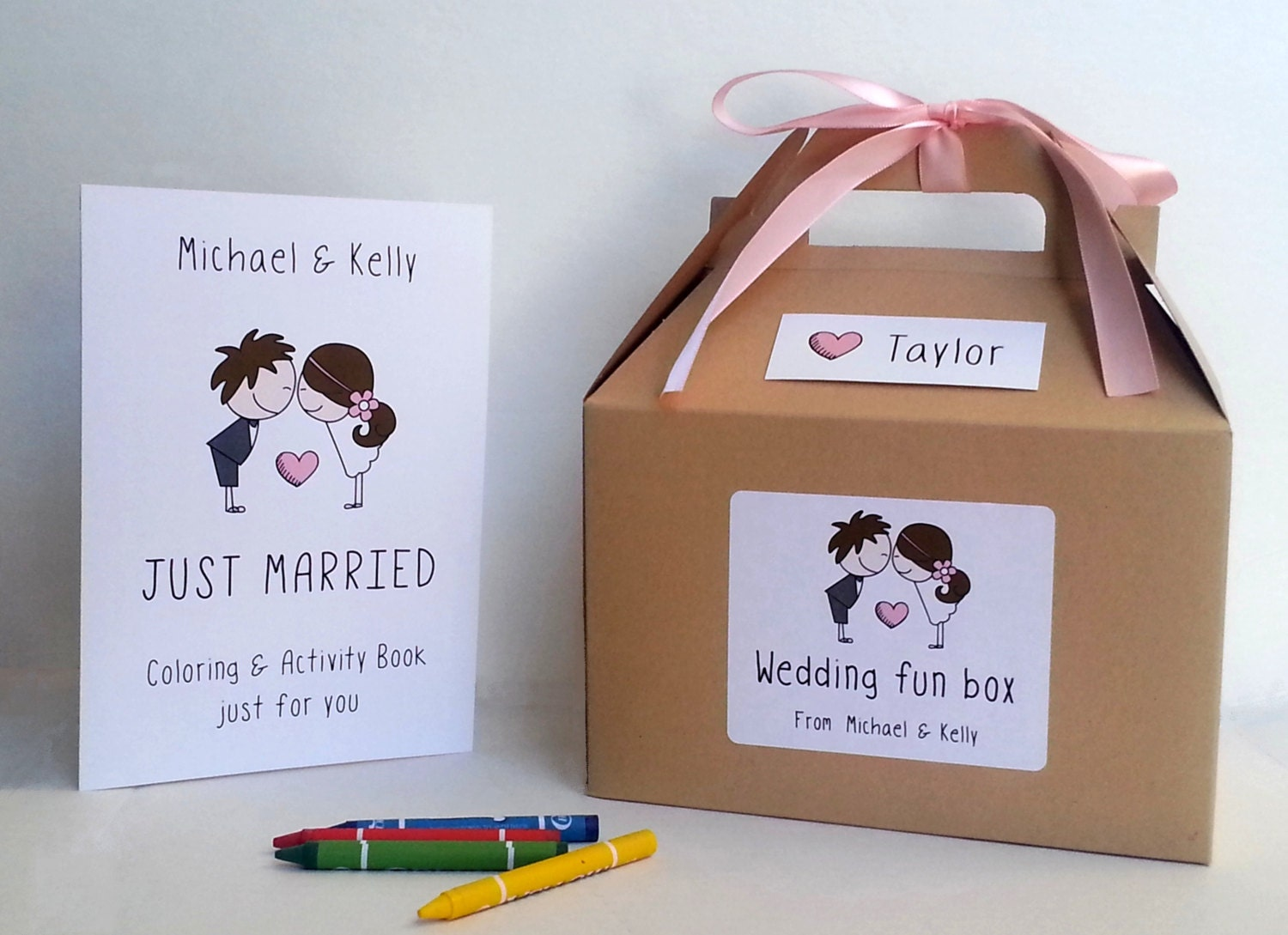 Kids Wedding Gifts: Wedding Coloring Book And Box / Kids Wedding Favor Box / Kids