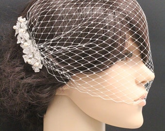 Wedding birdcage veil Bridal hair piece Wedding hair jewelry Bridal birdcage veil Wedding headpiece Bridal veil Wedding hair piece Bridal
