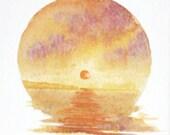 Original watercolour sunset painting across the bay ocean vignette minature
