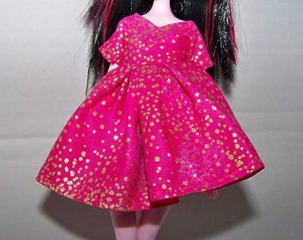 Handmade Monster High doll clothes - pink with flecks of metallic gold dress