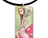 Woodland Sprite, pendant, big eyes girl, Forest faerie, fairy art, toadstools, mushroom, enchanted woodland