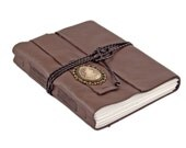 Large Brown Leather Journal - Wrap Journal - Travel Journal - Lined Paper - Guestbook - Ready to Ship - Prayer Journal - Diary - Cameo -