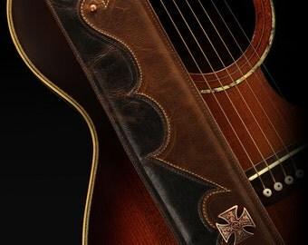 Brown Guitar Strap, Custom Leather Guitar Strap:  Heritage Road Guitar Strap