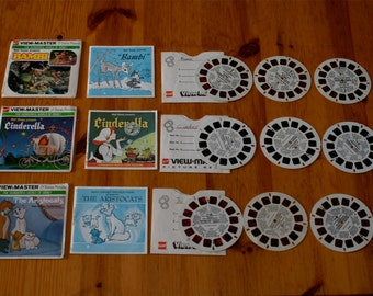 Vintage viewmaster reels Disney Cinderella Bambi Aristocats 63 stereo pictures 9 reels