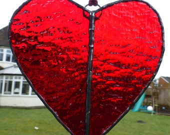Stained Glass Ruby Red Love Heart Light Catcher Sun Catcher Valentine in Two Halves