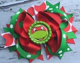 Girls Layered Ninja Turtle Raphael Hair Bow Raphael Hair Clip Ninja Turtle Hair Ninja Turtle Raphael Birthday Bow TNT Hair Bow
