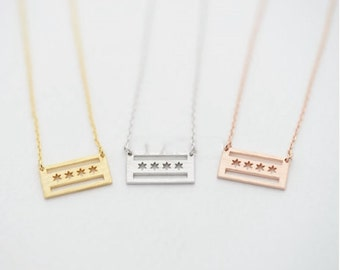 Dainty Chicago Flag Pendant Necklace