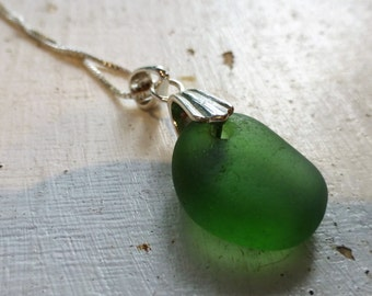 Olive Green Sea Glass Necklace Sterling Silver