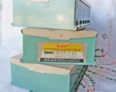 Set of 3 Vintage Kodak Compartment File Boxes for slides in Turquoise and tan FREE SHIPPING