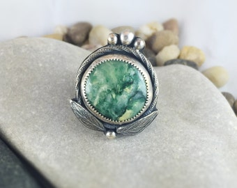 Canadian Gemstone Ring, Virginite Ring, Green stone ring