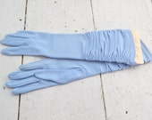 1960s Fownes Heaven Blue Long Ruched Gloves