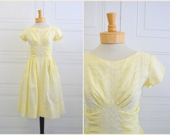 1950s Pale Yellow and Eyelet Cotton Dress