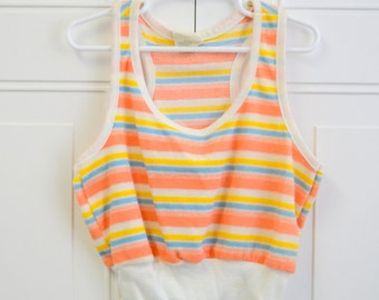 1980s Dobie Striped Girls' Tank Top
