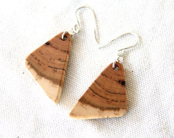 medium cherry wood and sterling silver earrings