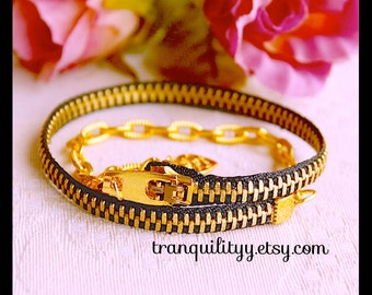 Zipper Bracelet , Black Zipper Wrap Bracelet, Handmade By: Tranquilityy