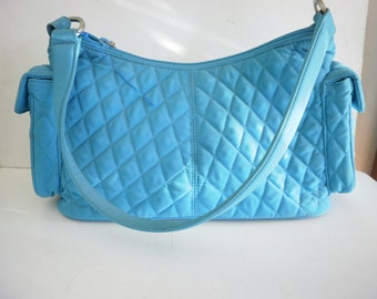 """Vintage """" Vera Bradley """" Quilted Turquoise Purse Bag Tote with Green Lining"""