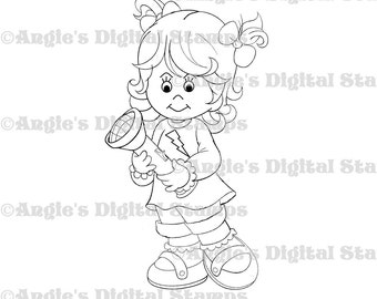 Little Lila With Flashlight Digital Stamp Image