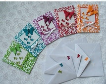 on sale now butterfly origami card -greeting-birthday-thank you-baby shower card-get well-折り紙カード set of 5 cards