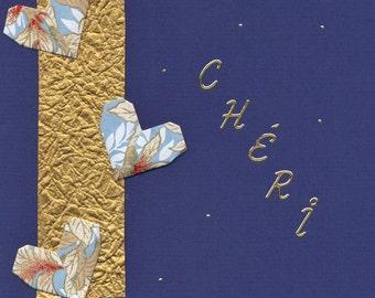 Carte de St-Valentin pour homme-Chéri- Frais Postaux Gratuits-折り紙カード Carte faite à la main en origami pour homme