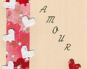 Carte de St-Valentin en origami-AMOUR 折り紙 カード