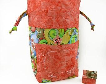 """New! """"Baa Baa Coral Sheep"""" Large Drawstring Project Bag"""