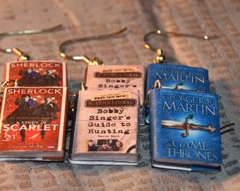 Book earrings. Your Choice of Sherlock Holmes, Supernatural or Game of Thrones