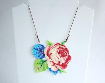 Rose necklace.Flower necklace.Beadwork Rose.Bib necklace/Statement necklace/Unique necklace/Multicolored necklace/Original necklace