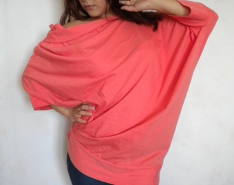 off shoulder batwing top oversize loose long sleeve cotton jersey top in coral pink made to order