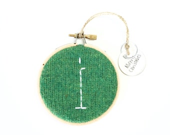 Initial Hoop Ornament I / Embroidered Initial Christmas Ornament / Letter I Monogram / Rustic Christmas Ornament by WormeWoole