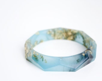 beach jewelry - stormy seaglass green with gold flakes eco resin faceted bracelet bangle