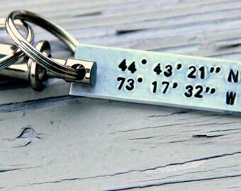 Latitude Longitude Keychain ~ Coordinate Keychain ~ Boyfriend Gift ~ Valentines Day For Him ~ GPS coordinate Keychain ~ Latitude Longitude