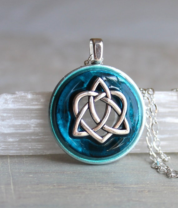 blue celtic sister knot necklace heart jewelry by