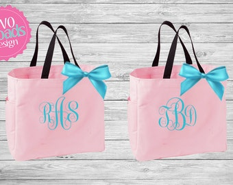 Bridesmaid Totes Set of 2 3 4 5 6 7 8 9 10 bridal party tote bags , bridesmaid gifts , tote bag , beach bag , bachelorette party gift