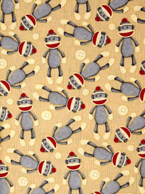 Sock monkeys fabric childrens fabric 100 cotton fabric for for Nursery monkey fabric