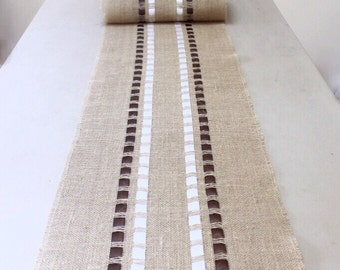 Father's Day Burlap Table Runner Adorned with Satin Ribbons -  Holiday Table Decoration - Wedding/Home Table Decoration