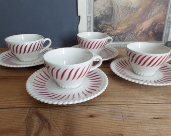 Vintage french coffee cups red/white patterns Badonviller